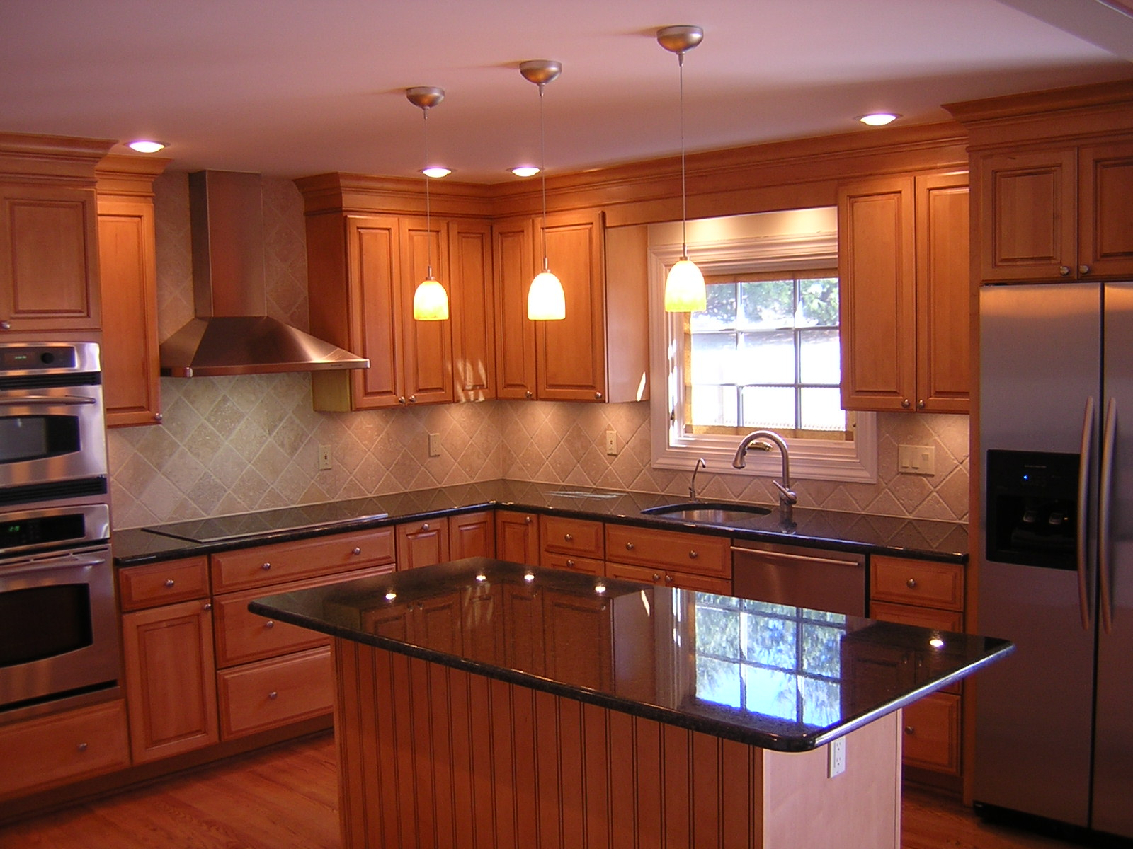 kitchen with black granite counter