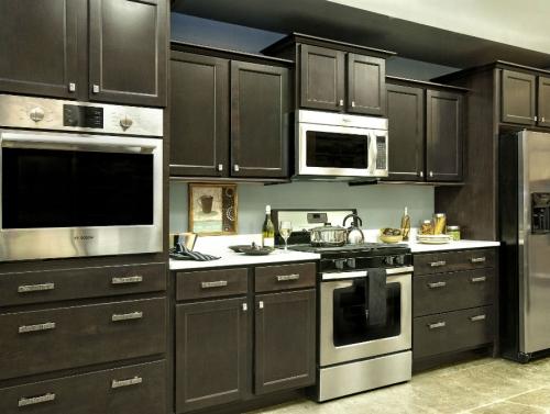 dark brown cabinets
